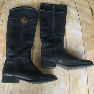 Tory Burch Pebbled Leather Selma Riding Boots
